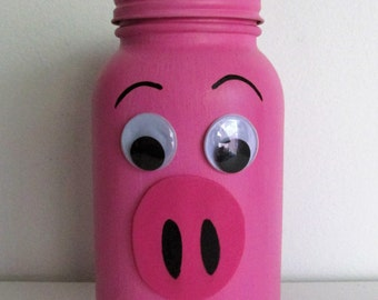 "Hand-Painted Quart-sized Mason Jar ""Piggy"" Bank"