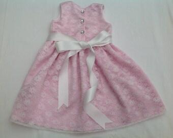 Girls Dress, Bridesmaid dress, flower girl, party dress, lace dress, pink dress, special  occasion dress, Handmade, baptism, age 2yrs
