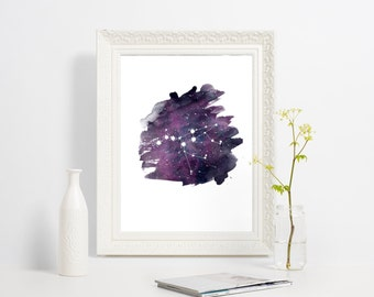 Ursa Major constellation print, Big dipper art poster, Constellation art, Purple watercolor wall art print, Home wall decor