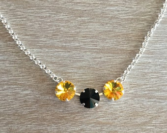 12MM Swarovski Sunflower and Jet Black Crystal Necklace