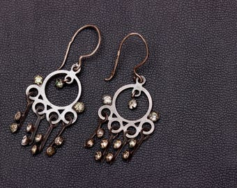 Sterling silver large dangle chandelier rhinestone earrings Made in USSR