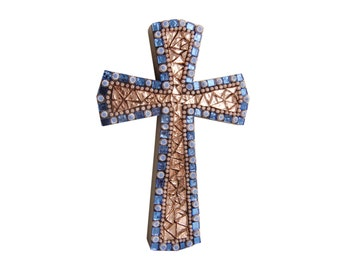 decorative wall cross for baptism in Murano glass; art L/700/A/10