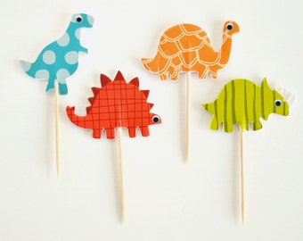 Dinosaur Cupcake Toppers 12 Pack. DOUBLE SIDED dino cupcake topper. Dinosaur party decorations for cupcakes.