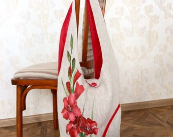 Linen hobo bag/hand painted bag/flower/red gladiolus/handpainted/gladiolus/mom purse/Design your own choose size/shoulder purse/large purse