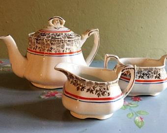 Alfred Meakin teapot, sugar bowl and milk jug set
