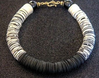 Black necklace Black jewelry Statement Necklace Beaded necklace Big Bold Chunky Necklace boho necklace ethnic necklace monochrome necklace