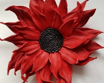 Red and black genuine leather flower brooch / corsage / hairtie / hairpin