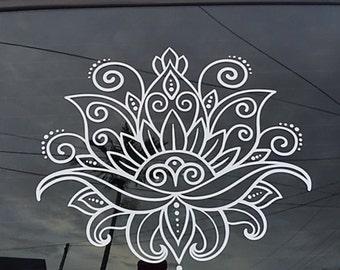 Beautiful Lotus Flower Henna Paisley Floral boho Vinyl Decal Car Decal Wall Decal  zen yoga OM ornamental decorative meditate pretty
