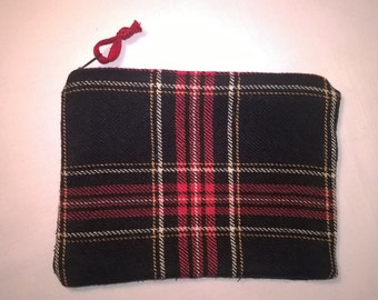upcycled Plaid Tartan cosmetic bag cosmetics bag made of recycled wool Plaid