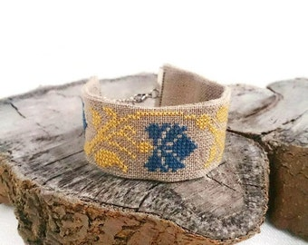 Gift for her Flower bracelet Embroidered bracelet Floral jewelry Ethnic linen fabric jewelry Ukrainian embroidery Cross stitched bracelet