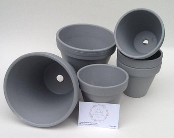 Grey Painted Plant/Flower Pot (other sizes, designs and colours available)