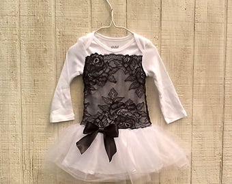 Black Baby Tutu Outfit, Baby Dress for Wedding, Baby Pageant Dress, Fancy Baby Girl Dress, Black Infant Dress, Formal Baby Dress,