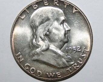 1952 BU Franklin Silver Half Dollar Free Shipping