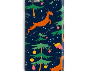 Christmas iPhone Case, Xmas iphone case, Deer iphone 6 case, Reindeer iphone 6 case, Winter iphone 6s case, Holiday iphone case
