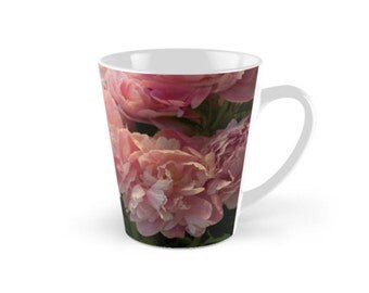 Pink Peony Mug ~ Floral Gift for Gardener ~ Flower Photo Mug, Gift for Her, Pink Tea Cup, Peony Coffee Mug, Floral Drinkware, Black Mug