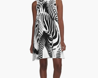 Zebra A Line Dress, Black and White Dress, Zebra Print Dress, Short Sleeveless Dress, Black & White Striped Shift, Women's XS S M L XL 2XL