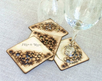 Personalized Coasters Wedding favors Coasters wood Personalized Wedding Gift for guests, Drink Coasters, Unique Coasters wood custom, Set 4