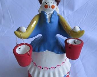Vintage Russian Folk Clay Girl with Buckets Figurine 1987 Dymkovo