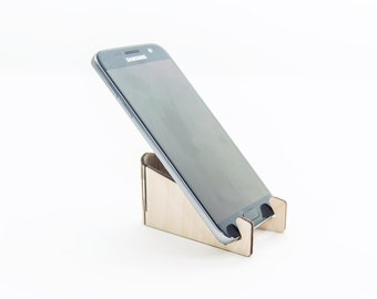 Wooden phone stand - Mini phone holder - Smartphone stand - Desk phone holder - Cell charging station - iPhone flexible holder