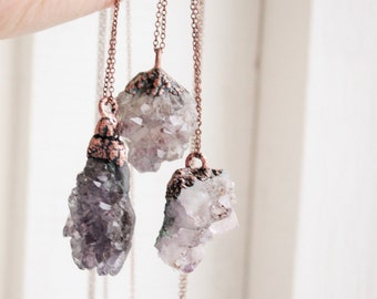 Amethyst necklace. Amethyst pendant. Raw amethyst. Druzy amethyst. Druzy necklace. Electroformed amethyst. Druzy pendant. Gift for girl