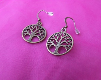Antique Bronze Tree Of Life Dangle Earrings - One Pair
