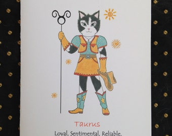 Taurus Zodiac Cat Greeting Card - Astrological Taurus Blank Greeting Card - Cat Astrological Taurus