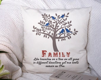 Family Tree Gift - Personalized Throw Pillow - Decorative Pillow - Family Quote - Bench Pillow - Custom Accent Pillow - Living Room Decor