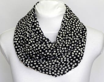 Print Scarves / Gift for Mother Infinity Scarves / Chiffon Scarf Women / Circle Scarves / Black White Polka Dot Scarf / Black Fall Scarf /