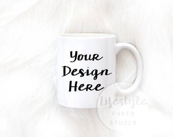 Mug Mock Up / Styled Stock Mug Photograph / Faux Fur Mug Background / Minimal Luxury Mug Mock Up Image