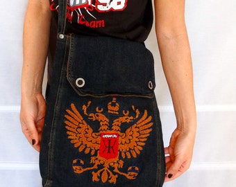 Large cross body denim bag Kamasutra crossbody everyday messenger bag Embroidered monogrammed Canvas Bag Wearplay Vintage