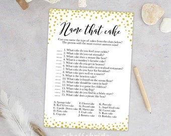 Name That Cake Game - Guess The Cake  - Printable Gold Confetti Bridal Shower Gold Bridal Shower Game - Bachelorette Games 032