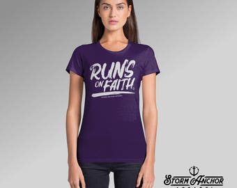 Womens Graphic Tee | Runs on Faith | Inspirational, Modivational Athletic Ladies T-shirt