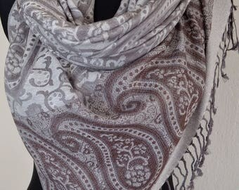 Pashmina Scarf Violet Pink, Scarf for Women Gray