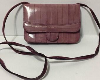 Pink Purple Leather Shoulder Purse - Pink Purple Shoulder Bag - Korea