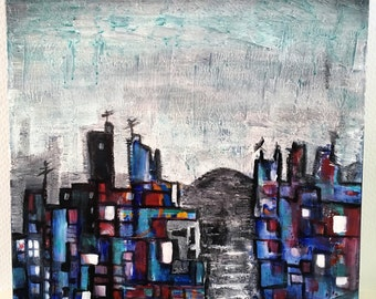 Peinture technique mixte sur toile, peinture originale, acrylique, jungle urbaine, déco maison, format carré, style boho, paysage urbain,