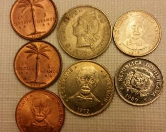 7 dominican republic vintage coins 1955 - 1989  / gramos centavos coin lot - world foreign collector money numismatic a15