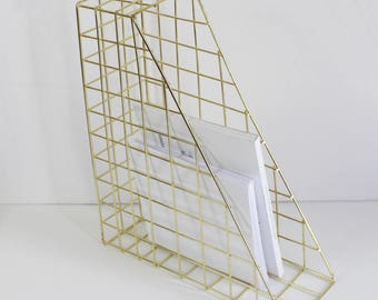 Gold Geometric Desk File Organiser