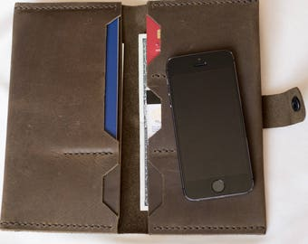 Leather travel wallet, womens wallet, leather clutch, gift women, gift for her, leather phone wallet, iPhone wallet, mens wallet