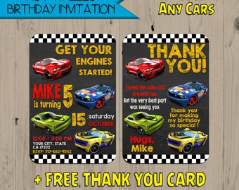 Hot Wheels Inspired Birthday Invitation - Hot Wheels Invitation - Free Thank You Card - Card Invitation - Digital -Personalized-Fast Service