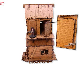 "Wargaming terrain: ""Haunted Mansion"" - 28mm (1-35) mdf scenery for Malifaux, Warhammer Fantasy, Warmachine, Hordes, miniature building"