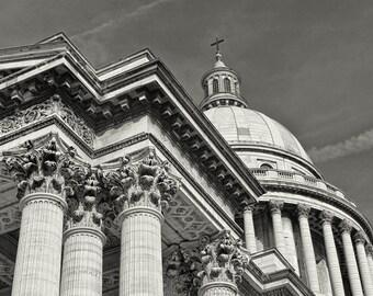 Paris France, black and white photography, Paris architecture, columns, the Pantheon, fine art photography, Paris art print, home decor