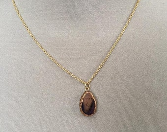 Beautiful hand sculpted faux stone necklace on gold chain