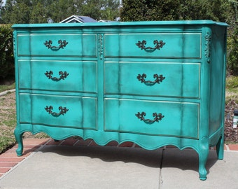 SOLD - Vintage French provincial dresser with granite top - turquoise / teal newly painted in shabby chic