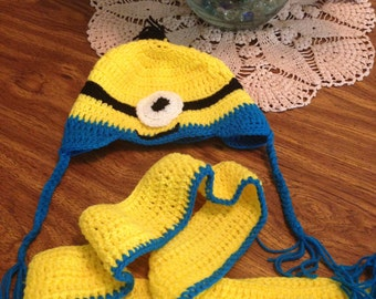 Minion Set Beanie hat and scarf knit (Two Pieces) - Choose the theme and we do it