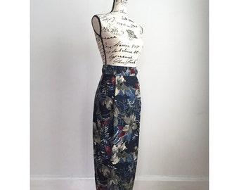 Vintage Floral Skirt with Pockets, Long Floral Pencil Skirt, 90s Skirt, 1990s Skirt