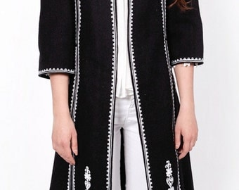 Traditional Romanian Embroidered Coat Suman black colored