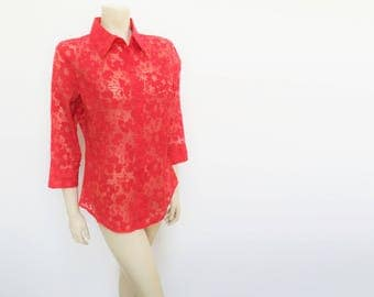 Red Vintage Blouse, UK10/12, EU38, Lady, Feminine, Boho, Hippie, Hippy, Vintage Clothing, Retro Clothing