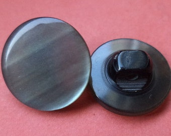 12 small BUTTONS Black Silver 14mm (5242) button