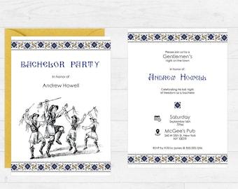 Printable Bachelor Party Invitation - Romanian Folklore Card - Ethnic/Traditional Wedding - Printable Custom Romanian Party Invitation - DIY