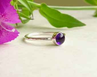 Sterling Silver Amethyst Stacking Ring - Purple Stone Ring - Silver Amethyst Ring - February Birthstone Ring